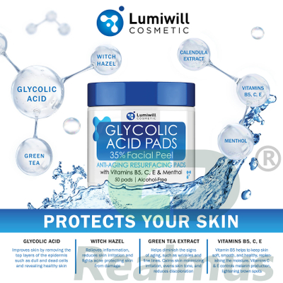 Lumiwill?Resurfacing?Pads?conveniently?provide??treatment?that?exfoliates?and?moisturizes?the?skin Glycolic?Acid?35%